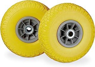 Relaxdays 2X 车轮,抗压全橡胶轮胎,3.00-4英寸,20毫米轴承,80千克,260 x 85毫米,不同种类 颜色 10026068_958