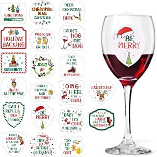 圣诞葡萄酒眼镜挂坠饰品,40 件酒杯贴纸标签饮料标记粘贴,可重复使用有趣的圣诞贴纸冬季假日派对用品