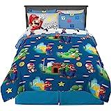 Franco 儿童床上用品超柔软被子和床单套装,7 件套,任天堂*马里奥图案