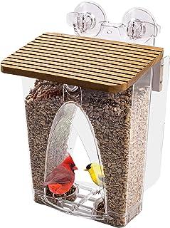 Roamwild 美丽的拱窗野鸟喂食器具有巨大的 4 磅容量和*双吸力技术适用于户外带排水孔和窗户保护装置的户外