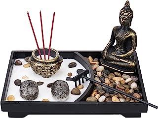 MyGift 佛像桌面禅宗花园套件,带香炉