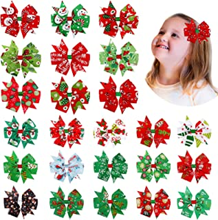 24 件圣诞蝴蝶结发夹鳄鱼圣诞蝴蝶结发饰多彩圣诞精品发夹雪花雪人圣诞树蝴蝶结发夹发夹适合女婴幼儿儿童