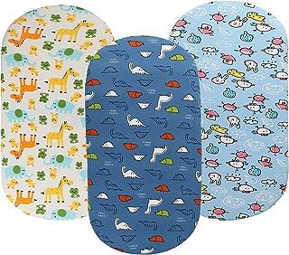 摇篮床床单套装 3 件装针织超柔软弹性透气 适合男婴女孩 兼容 Halo、MiClassic、Chicco Lullago 床垫恐龙大象小鸡蓝黄* Knlpruhk 出品