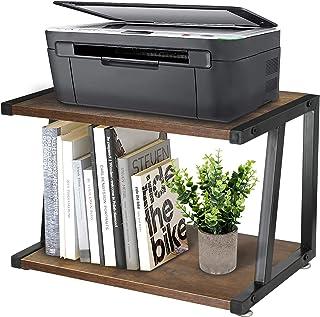 桌面打印机支架,带 2 层木质存储架,质朴的木制打印机桌,带可调节防滑垫、桌面组织和存储架,家用打印机支架,适用于传真、扫描仪、文件