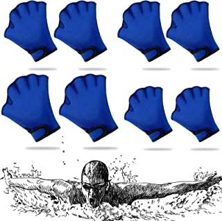4 对水生手套 3 种尺寸游泳训练手套蓝色防水氯丁橡胶手套游泳网状手套防水游泳手套适合男士、女士成人儿童水上健身、潜水
