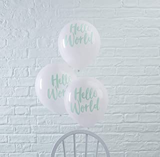 Ginger Ray 薄荷和白色 Hello World 婴儿沐浴中性气球装饰 10 个装