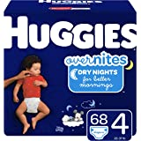HUGGIES OverNites Diapers, Size 4, 68 ct, Overnight Diapers…