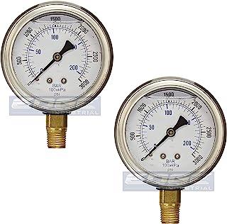 不锈钢低安装液体压力计,2.5 英寸(约 6.4 厘米)表面/表盘,额定木材,0.6 英寸(约 0.6 厘米)阳性 NPT,范围 0-3000 PSI(数量 02)