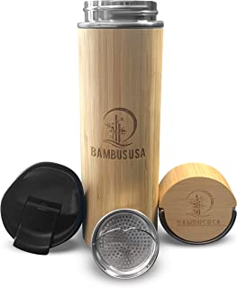Bamboo Thermos 茶滤茶器 滤茶器 Ember 马克杯带 2 个可互换盖子 保温 12 小时保冷 24 小时送给男士的独特礼物 送给妈妈的礼物