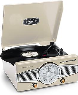 Classic Phono 唱机 TT-28C,手动操作唱针臂,2个扬声器和LED指示灯,复古