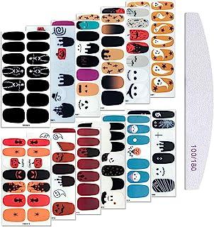 Kalolary 12 张万圣节美甲贴纸贴花带 1 个*锉,全包裹自粘不同形状的美甲贴纸适用于万圣节派对美甲艺术 DIY 装饰