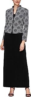 Alex Evenings 女式提花长款连衣裙中式领夹克(小号常规)