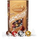 Lindt 瑞士莲 Lindor 什锦巧克力松露 盒装-约 48 粒,600 克-包含牛奶巧克力,白巧克力,黑巧克力和榛…