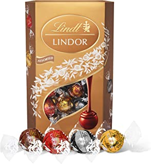 Lindt 瑞士莲 Lindor 什锦巧克力松露 盒装-约 48 粒,600 克-包含牛奶巧克力,白巧克力,黑巧克力和榛子巧克力球 带有顺滑的夹心