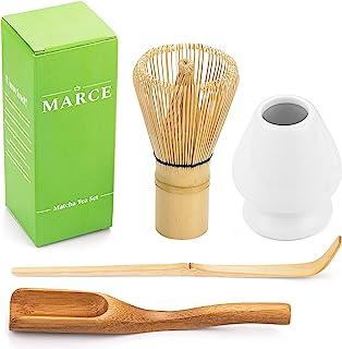 日本抹茶套装 竹制抹茶搅拌器 (Chasen) 手工陶瓷搅拌器 勺子 (Chashaku) 汤匙 (Chashaku) 和勺子 准备传统抹茶的完美入门套装