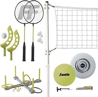 Franklin Sports Fun 5 组合套装 - 羽毛球 - 排球 - 套圈 - 翻转投掷 - 飞盘