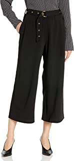 ECI New York 女式宽腿弹力裤,带腰带