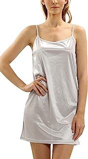 Melody 女式基本款软缎吊带背心背心裙全防滑透明毛衣,连衣裙,束腰睡衣睡衣裤