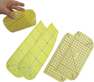 热烫尺,热烫测量尺,拼接控制尺测量,干烫或蒸汽熨烫织物耐热尺,拼缝缝制绗缝尺,DIY 缝纫用品(2 S + 2 大号)
