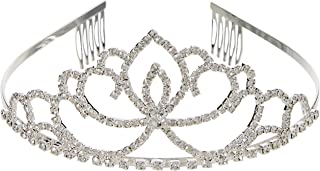 Katara - Silver rhinestone bridal tiara with or without comb, for women or for girls - wedding, baptism, first communion, ...