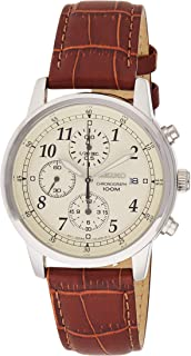 Seiko 精工 SNDC31P1 男式手表计时码表 皮革表带,银色