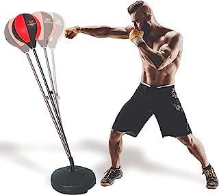 带支架的红色指关节拳击袋 – 包括拳击手套、弹性腕套和跳绳,用于完成有氧训练 – 非常适合男士、女士和儿童
