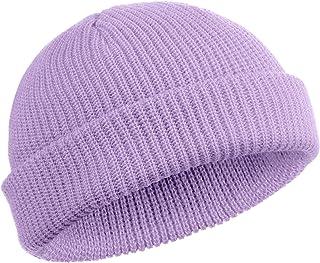 SATINIOR Trawler 无檐*帽手表帽卷边骷髅头帽渔夫无檐*帽男式女式(罗紫色)