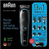 Braun 博朗 9 合 1 修剪器 MGK5280 胡须修剪器,身体护理套装和毛发修剪器,适用于男士,黑色/蓝色