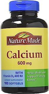 NATURE MADE 钙和维生素 D3––600mg 100Liquid 软胶囊(2瓶装)