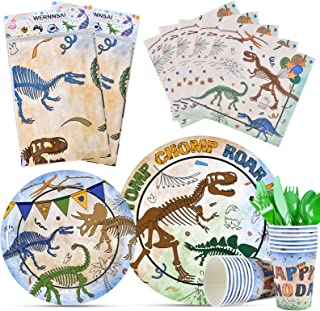 Fossil 恐龙派对用品 - 一次性恐龙主题派对餐具套装男孩儿童生日包括桌布餐巾纸杯刀叉勺子服务16位客人114件
