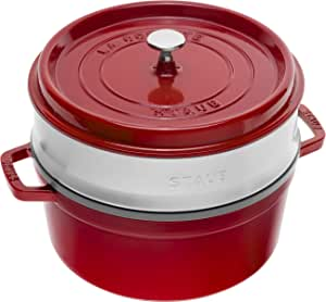 STAUB 珐宝 圆形带蒸笼铸铁锅,5.2 升,26厘米,樱桃红色