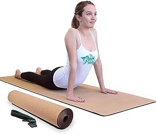 *波利软木瑜伽垫,75 英寸 x 26 英寸,减震、防汗、防滑、防腐*软木瑜伽垫附免费携带吊带 - 超厚、宽和长 - 5 毫米厚