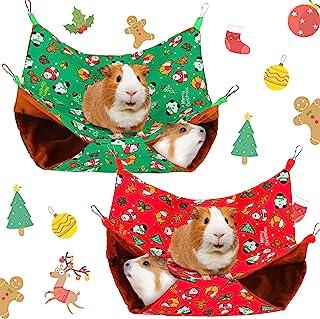 2 件圣诞雪貂吊床豚鼠吊床悬挂宠物吊床印花圣诞老人雪貂床小型动物仓鼠吊床,适用于兔子松鼠玩耍,*,红色(L 码)