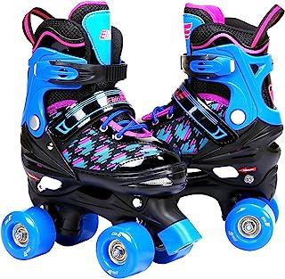 Eliiti 儿童青少年女士溜冰鞋男孩可调节尺码四轮滑鞋