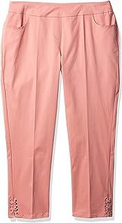 SLIM-SATION 女式纯色九分裤,正面有口袋