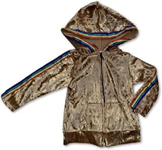 Sol Baby Gold Crushed Velvet Rainbow Trim 拉链连帽夹克