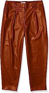 Calvin Klein 女士褶皱 FRNT Pu 长裤