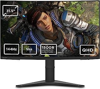 Lenovo 联想 G32qc-10 31.5 英寸 QHD 弧形显示器 (VA 面板 144 Hz,4 毫秒,HMDI,DP) – 倾斜和高度调节屏幕 黑色