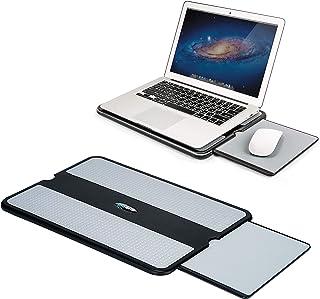 EHO 笔记本电脑腰垫 - 带可伸缩鼠标垫托盘的笔记本电脑支架垫防滑隔热平板电脑笔记本电脑立式桌,带坚固的冷却器工作表面,适用于床沙发沙发或旅行