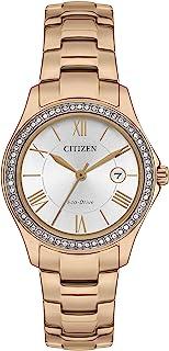 CITIZEN 西铁城 女士 Eco-Drive 不锈钢表带腕表 粉红色