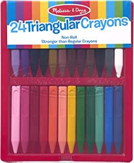 Melissa & Doug 三角蜡笔,含24支蜡笔和翻盖外壳,不乱滚