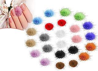 Diamon Deb Nail Pom 绒毛球(24 件),可拆卸 3D *毛绒人造球,美甲配件彩色*艺术 DIY 装饰,女孩女士*设计(12 种颜色)