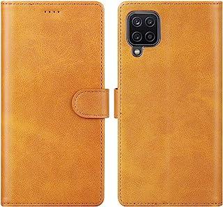 Cresee 兼容三星 Galaxy A12 手机壳,PU 皮革钱包翻盖保护套 [3 个卡槽 1 个钱袋] [磁扣] [支架] 对开式手机壳 - 棕褐色
