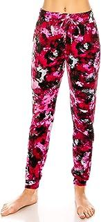 ALWAYS 女士弹力天鹅绒慢跑裤 - 优质柔软天鹅绒保暖冬季印花运动裤