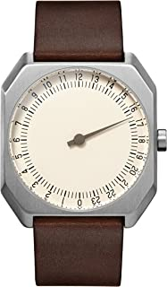 slow Jo 17 - 深棕色复古皮革银色表壳 Creme 表盘 中性石英手表带米色表盘 模拟显示和深棕色皮革表带