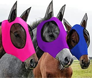 3 件马飞面具,耳朵光滑弹性飞翔面罩,防紫外线,3 种颜色(L 码,紫色,宝蓝色,粉色)