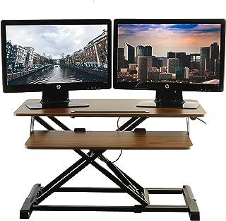 "TechOrbits站立式桌子 – 台式转换器和显示器立架 – 高度可调式坐立桌面 工作站 32"" Wide 木色"