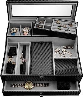 男士代客托盘 | 时尚梳妆台收纳盒,用于存放和展示 | 适合手机、手表、太阳镜、首饰、钱包、戒指、项链等 | 碳纤维和人造皮革