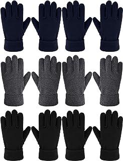 6 双装儿童冬季羊毛手套温暖全指手套,适合男孩女孩
