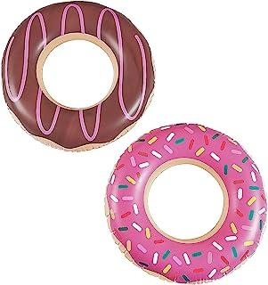 甜甜圈泳池漂浮(2 个装) 22 英寸(约 55.9 厘米)适合 3-8 岁儿童 充气泳池漂浮 适合儿童 - 适合甜圈派对用品和装饰品,甜甜圈长大蜡烛,两个甜蜜冰淇淋主题生日